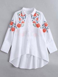 Camisa Larga Alta Bordada Manga Larga - Blanco M