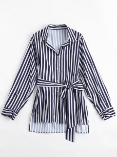 Longline Belted Stripes Side Slit Shirt - Stripe S