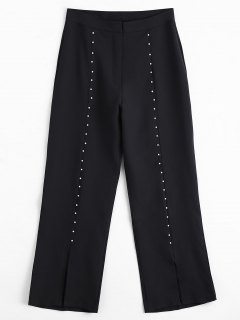Capri Beaded Slit Bootcut Pants - Black M