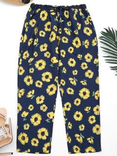 Ninth Floral Narrow Feet Pants - Purplish Blue L