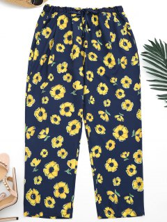 Ninth Floral Narrow Feet Pants - Purplish Blue S