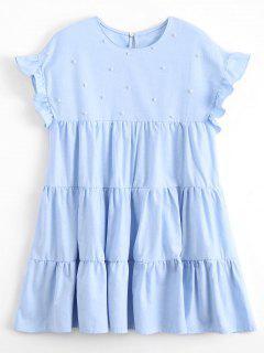 Rüschen Perlen Tunika Mini Kleid - Hellblau L