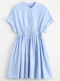 Smocked Waist Button Up Casual Dress - Light Blue M