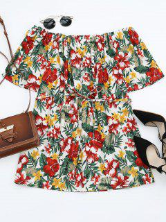 Off Shoulder Belted Floral Smocked Dress - White L