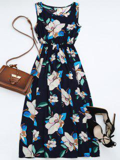 High Waisted Sleeveless Floral Maxi Dress - Purplish Blue S