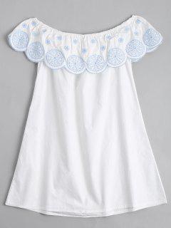 Volant Schulterfreies Besticktes Kleid - Weiß L