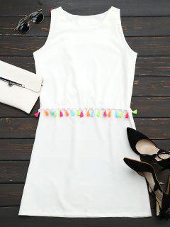 Vestido Recto Sin Manga Con Adornado De Borlas - Blanco Xl