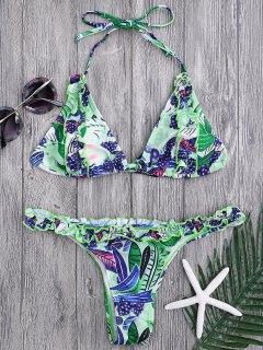 Grape Print Frilled Bikini Top And Bottoms - Multicolor L