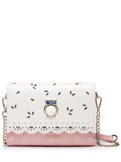 Owl Cut Out Scalloped Crossbody Bag - Pink