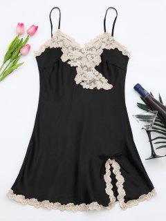 Shiny Satin Slip Dress - Black M