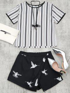 Bird Print Striped Suit With Necklace - Black L