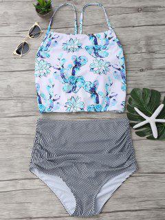 High Neck High Waisted Bikini Set - Multicolor S