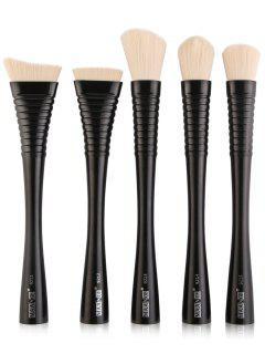 5Pcs Portátil Cepillos De Maquillaje Facial Set - Negro