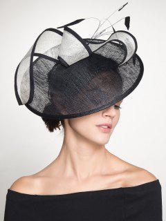 Feather Embellished Cambric Cocktail Hat - Black