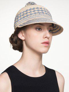 Rhombus Striped Pom Ball Baseball Cap - Cloudy