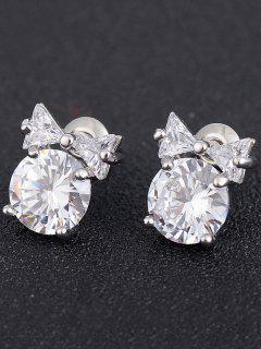 Tiny Bowknot Faux Diamond Stud Earrings - Silver