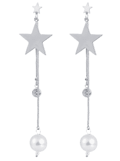Pentagram Faux Pearl Pendant Drop Earrings - Silver White