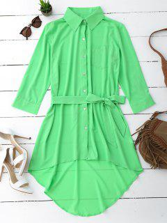 Belted Longline High Low Shirt - Mint L