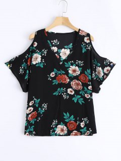 Cold Shoulder Floral Print Swing Blouse - Black L