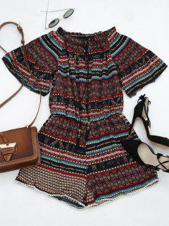 Manteau à Volants Imprimé Tribal Embellished Romper - Multi