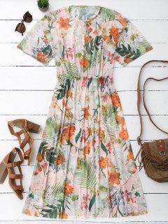 Elastic Waist Sheer Floral Midi Dress - Floral L