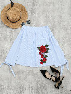 Floral Patched Off The Shoulder Striped Blouse - Light Blue Xl
