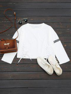 Letter Print Lace Up Sweatshirt - White