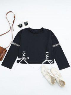 Letter Print Lace Up Sweatshirt - Purplish Blue