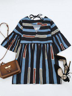 Bell Sleeve V Neck Striped Dress - Stripe