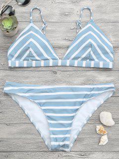 Chevron Striped Cami Bikini Set - Blue And White M