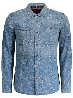 Mirco Patterned Washed Mens Denim Shirt - Indigo M