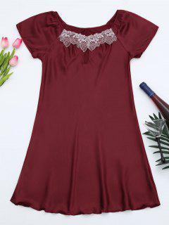 Short Sleeve Satin Lounge Sleep Dress - Burgundy M