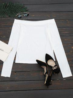 Off The Shoulder Long Sleeve Crop Tee - White M