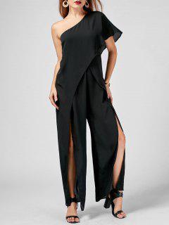 One Shoulder High Slit Chiffon Jumpsuit - Black Xl