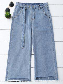 High Low Hem Cutoffs Wide Leg Jeans - Denim Blue M