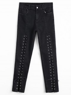 High Waisted Lace Up Pencil Jeans - Black L