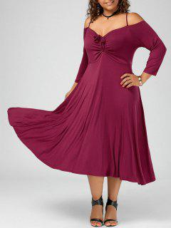 Spaghetti Strap Cold Shoulder Plus Size Party Dress - Wine Red 4xl