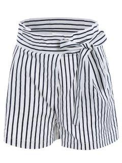 Bowknot Rüschen Taille Streifen Mittel Shorts - Weiß L