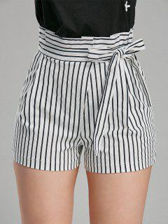 Belted High Waisted Striped Mini Shorts - Stripe L