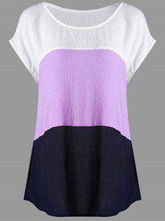 Plus Size Cap Sleeve Crinkle Blouse - White + Purple 4xl