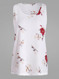 Floral Plus Size Chiffon Top With Tassel Trim - White Xl