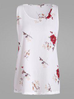 Floral Plus Size Chiffon Top With Tassel Trim - White 3xl