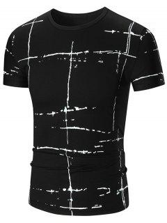 Painted Print Short Sleeve T-shirt - Black 2xl