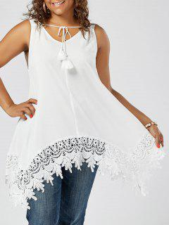 Asymmetric Plus Size Lace Insert Top - White 3xl