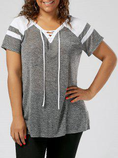 Plus Size Raglan Sleeve Lace Up Top - Grey And White 3xl