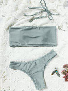High Cut Bandeau Thong Bathing Suit - Light Gray M