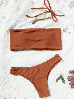 High Cut Bandeau Thong Bathing Suit - Brick-red M