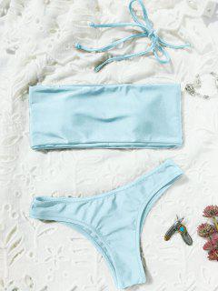 High Cut Bandeau Thong Bathing Suit - Light Blue M