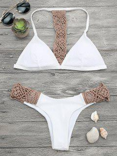 Padded Macrame Fishnet Bikini Set - Khaki M