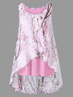Plus Size Tiny Floral Overlap Sleeveless Top - Light Pink 5xl